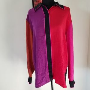 Bob Mackie wearable art large button down colors